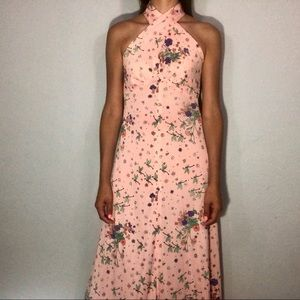 1970s floral/butterfly print maxi dress